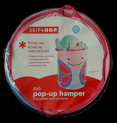 NEW-Skip Hop Zoo Pop-Up Storage Hamper/Organizing Bin/Butterfly/Pink&Blue-Girls