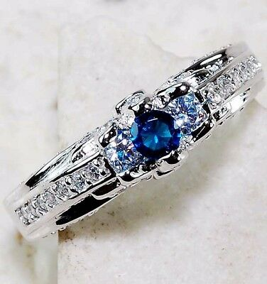 Blue Sapphire & White Topaz 925 Solid Sterling Silver Ring Jewelry Sz 8