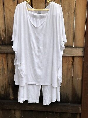 Only Necessities 2 piece Summer Lounge White ShIrt Gaucho Pants Plus Size 4X P