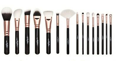 Professional high-quality 15 pcs rose gold vegan makeup brush set