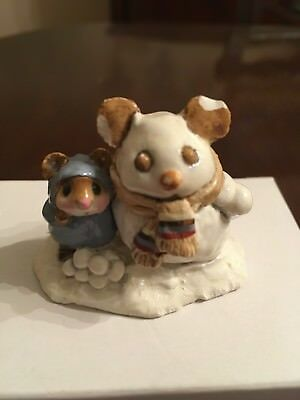 Wee Forest Folk Snowmouse and Friend M-084 Retired snowman mouse miniature