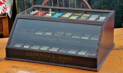 Rare Antique Glossilla Rope / Spool Thread Display Cabinet
