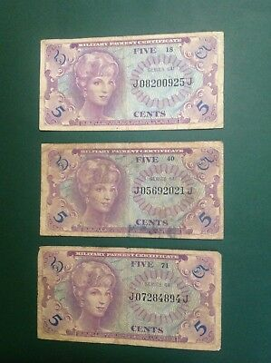 641 Series US Military Payment Certificates Lot Of 3