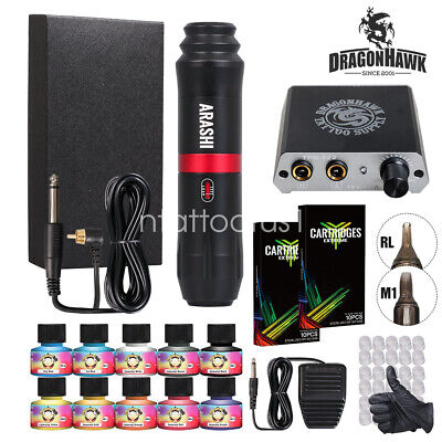 Complete Tattoo Kit Motor Pen Machine Gun Color Inks Power Supply Needles D3017