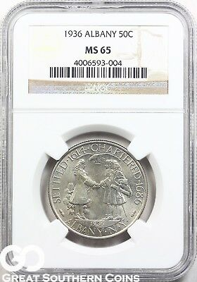 1936 Albany Commemorative Half Dollar NGC MS 65 ** Nice Tougher Date, Free S/H!