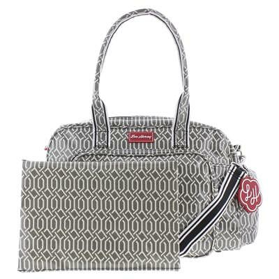 Lou Harvey 7190 Spencer Gray Coated Canvas Printed Diaper Bag Large BHFO