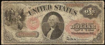 1874 $1 DOLLAR BILL UNITED STATES LEGAL TENDER ORNATE RED SEAL NOTE BETTER Fr 19