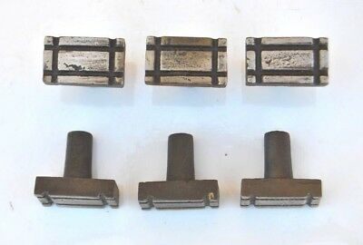 """Vtg cast iron square head cabinet drawer door knobs handles pull rustic 6pc 1.3"""""""