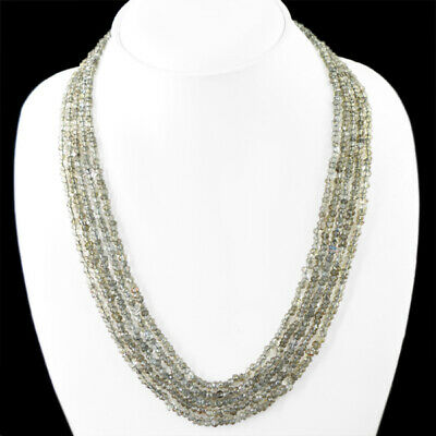 Top Class 235.00 Cts Natural 5 Line Faceted Smoky Quartz Beads Necklace (Rs)