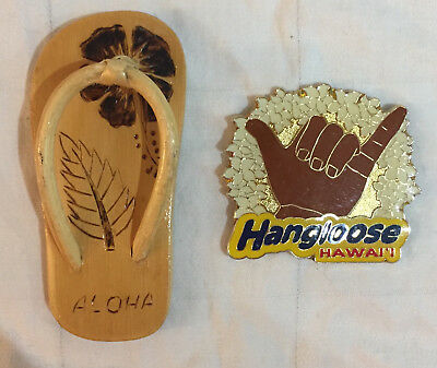 Vintage Hawaii Hang Loose Wood Sandle Fridge Magnets