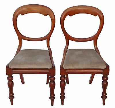 Antique quality pair of Victorian C1880 mahogany balloon back dining chairs