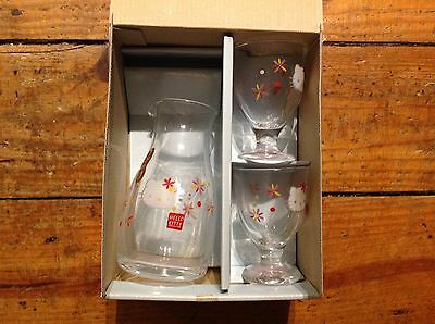 2003 New! In Box From Japan Hello Kitty Glass Sake Bottle & Cups Set Cafe