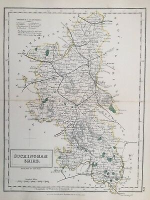 1873 Antique map - Buckinghamshire - from Hall's Travelling atlas of England