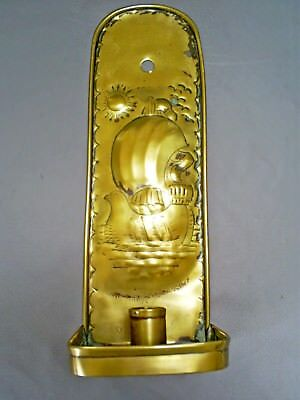 Lovely Antique Arts & Crafts Newlyn School Type Galleon Brass Candle Wall Sconce