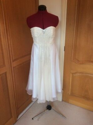 Monsoon.  Short.  Wedding Or Cocktail  Dress. Size 12  Ivory & White  Fab Straps
