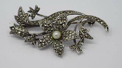 ***Beautiful Vintage English Silver H/M Marcasite Flower Brooch c1965***