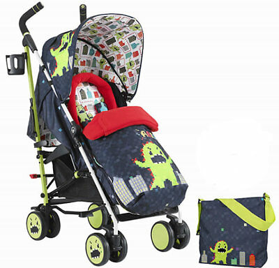 New Cosatto supa pushchair in monster arcade with footmuff pvc & change bag 0M+
