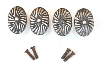 Vintage cast iron fancy cabinet drawer door knobs handles pull rustic 4pcs 1.6""