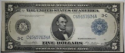1914 Large Five $5 Dollar Federal Reserve Note Blue Seal