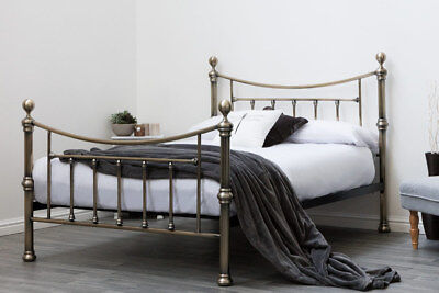 Luxury Antiqued Brass Metal Bed Frame Double / King Size Vintage Victorian Style