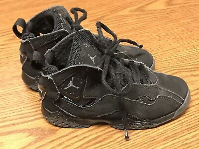 7e19efa5b05a0 NIKE 343796 013 Jordan True Flight Black Gray Toddler Kids Shoes Sneakers  Sz 13C