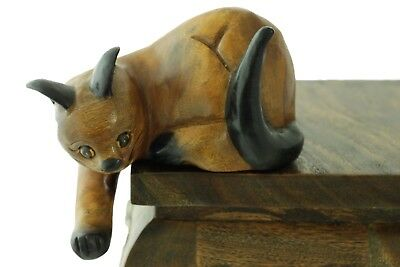 Wooden Cat Ornament Shelf Sitter Paw Down Vintage Style Handmade 23cm Carving