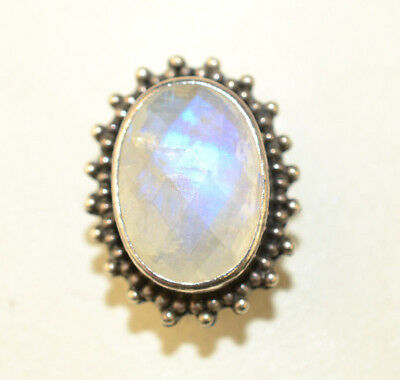 Lori Bonn Sterling Silver Oval Faceted Rainbow Moonstone Slide Charm Or Pendant