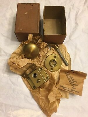 Vintage Screen Door Knob and Locking Catch Set; Sargent Brass Finish;NOS