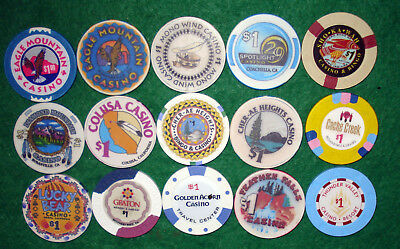 15 Different $1 Casino Chips From California Indian Casinos-Some Old, Some New