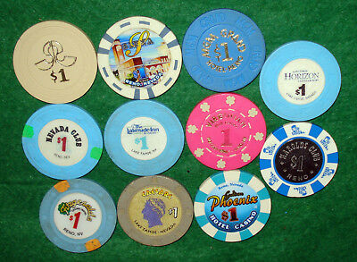 11 Different $1 Casino Chips From Nevada Casinos-Some Old, Some New