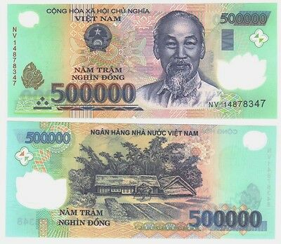 MINT NEW VIETNAM 2 x 500000 = 1 Million DONG POLYMER VIETNAMESE CURRENCY-UNC!