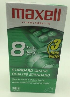 Maxell 213030 VHS T160 Standard Grade - 3 Pack 8 Hour Blank Videocassete Tapes