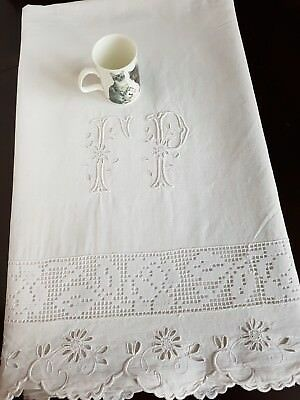 Antique French PURE LINEN hand embroidered sheet 88 x114 monogram FP monogrammed