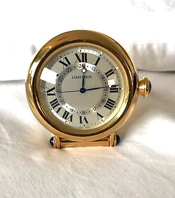 Cartier Vintage Travel Desk Gold Plated Clock Excellent Condition Preowned