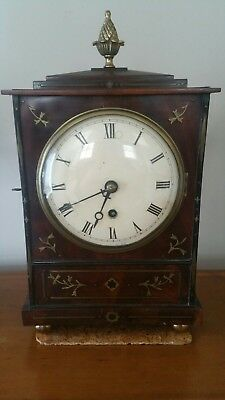 Regency bracket clock mahogany and brass. Attractive inlay. Fusee movement.