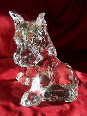 Vintage KR Haley ? Clear Crystal GLASS Boxer Great Dane Sitting Dog Figurine 4¾""