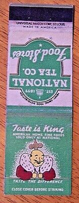 Rare 1930's National Tea Co. Food Stores/american Home Fine Foods Matchbook