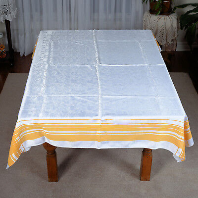 "Vintage White Fruit Design /Yellow Border  Tablecloth #31 - Approx.63 "" X 48 """