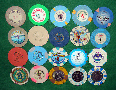 20 Different $1 Casino Chips From Nevada Casinos-Some Old, Some New