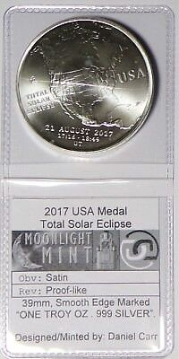 Daniel Carr 2017 Silver Total Solar Eclipse Medal ~  Without Hologram