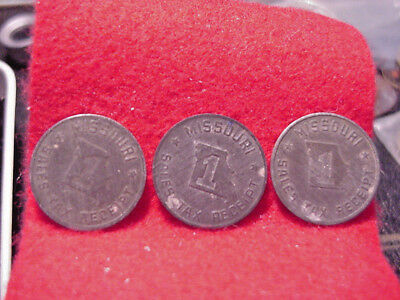 Three Vintage 1930'S MISSOURI 1m SALES TAX RECEIPT TOKENS