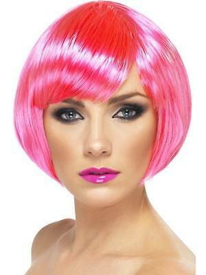 Neon Pink Babe Wig Short Bob with Fringe Adult Woman Smiffys Fancy Dress Costume