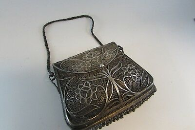 vintage rare Antique Islamic Ottoman Turkish Silver Filigree Wallet