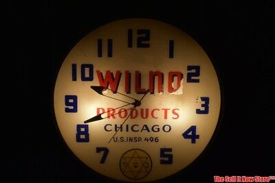 Vintage Wilno Kosher Products Chicago Advertising Lackner Sign Co Lighted Clock