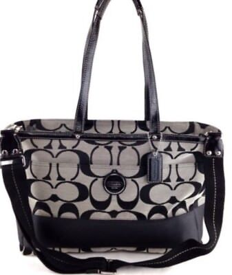 Coach Signature Stripe Multifunction Diaper Baby Tote Bag F15188 Black
