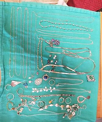 Mixed lot of Sterling Silver Jewelry 210 GRAMS, Chains,Bracelets,Rings, Earrings