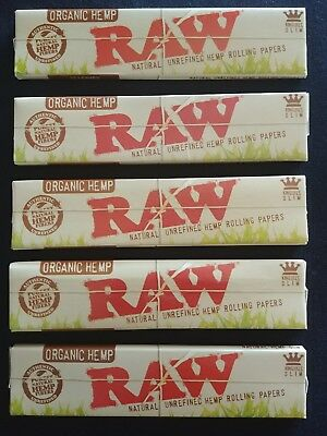 5 x Raw Organic Hemp King Size Slim Rolling Papers Natural Unrefined 110mm