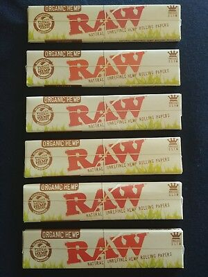 6 x Raw Organic Hemp King Size Slim Rolling Papers Natural Unrefined 110mm