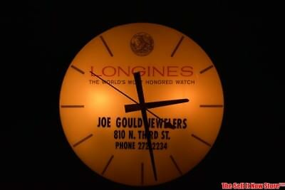 Vintage Pam Illuminated Longines Watch Jeweler Advertising Lighted Wall Clock