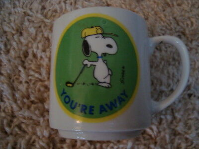 Vintage Snoopy Peanuts You're Away Golf Small Coffee Cup Mug